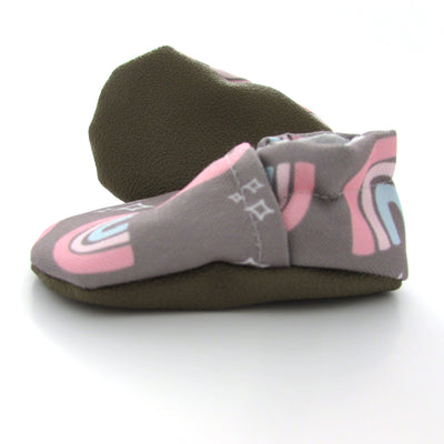 Taupe Rainbows Baby Shoes