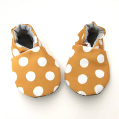 Mustard Dot Soft Sole Baby and Toddler Shoes