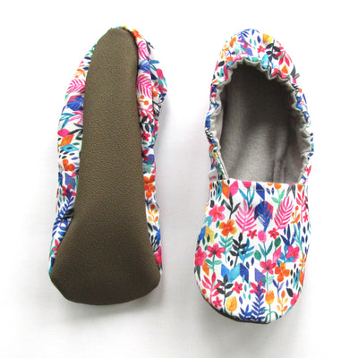 Spring Flowers Women's Slippers on White Eco Canvas With Flexible Rubber Soles