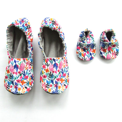 Spring Flowers Women's Slippers on White Eco Canvas - Mommy and Me