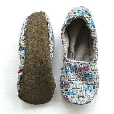 Vehicles on Blue-Grey Canvas Women's Slippers - First Responder Print