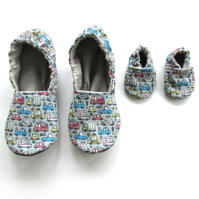 Vehicles Slipper Set - Mommy and Me - Baby Shower Gift - Police & Fire