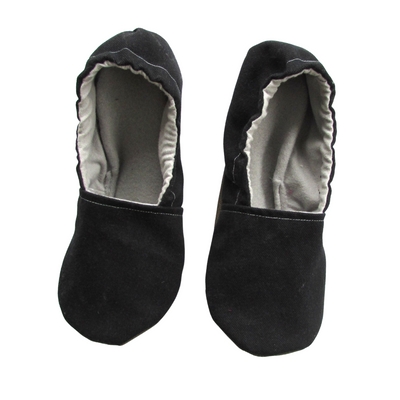 Black Brushed Denim Cotton Women's Rubber Sole Slippers
