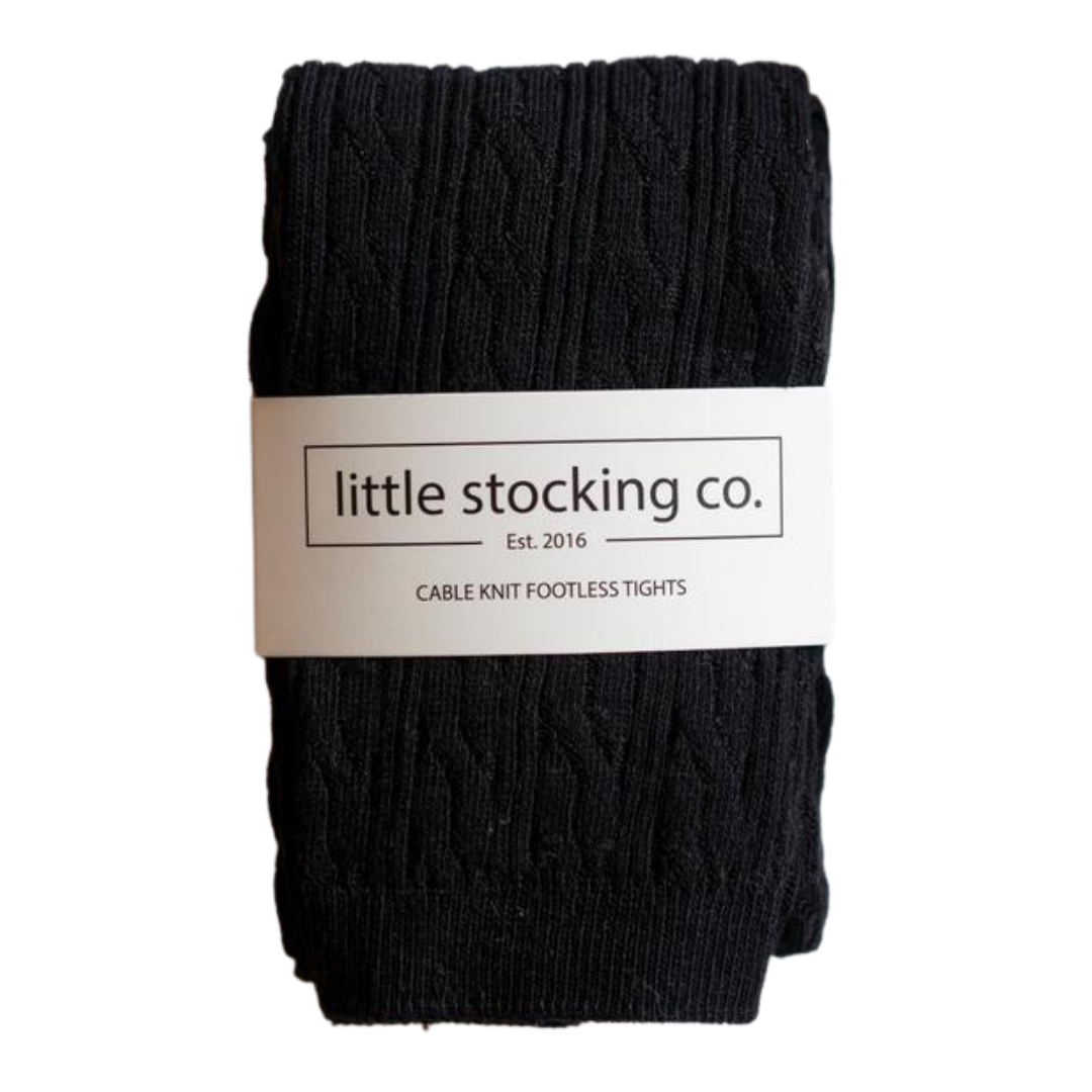 Little Stocking Co Black Cable Knit Footless Tights