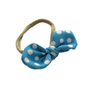 Blue Bunny Polka Dot Hand Tied Fabric Hair Bow on Nylon Band for babies