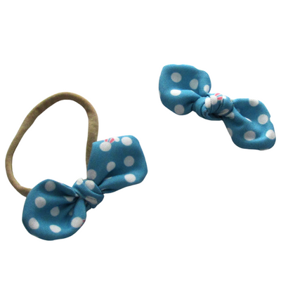 Blue Bunny Polka Dot Hand Tied Fabric Hair Bow