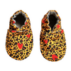 Cheetah and hearts washable, vegan baby shoes that don't fall off
