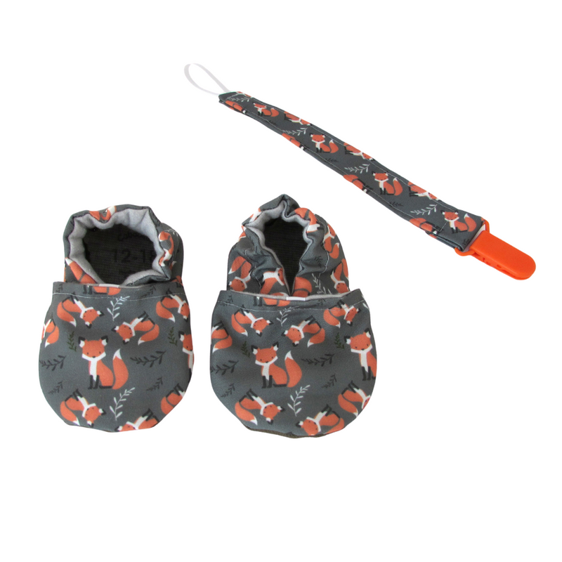 foxes pacifier clip orange