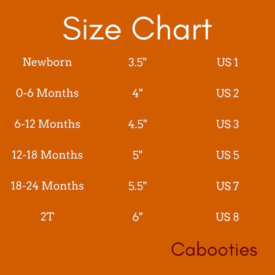 Cabooties Washable Vegan Soft Sole Baby Shoes Size Chart