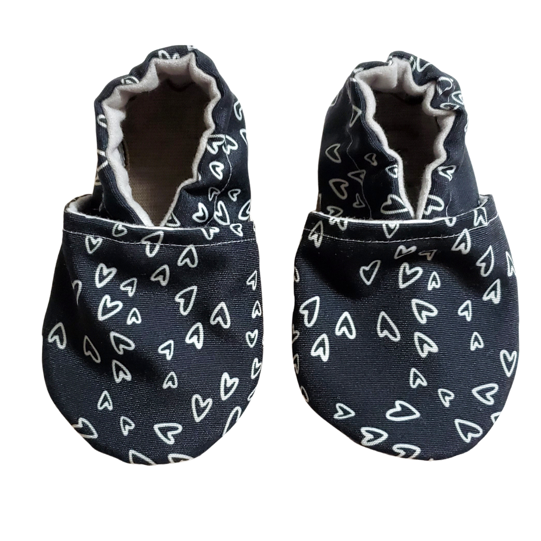 Monochrome Hearts Baby Shoes - Last Chance