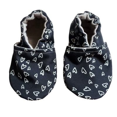 Monochrome Hearts Baby Shoes - Clearance