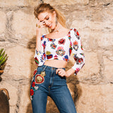 Crop Top Corazones Bordado