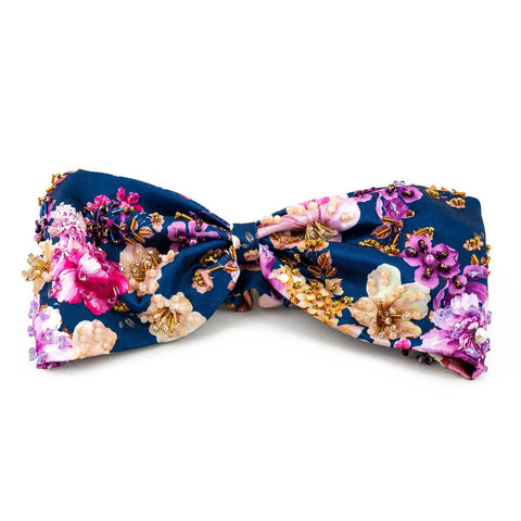 Turbante Navy con Flores Bordado