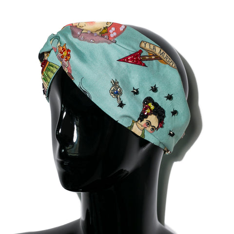 Turbante cruzado Frida Aqua