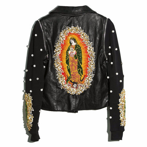 Chamarra faux leather Virgen de Guadalupe