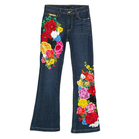 Flared Jeans con flores