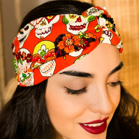 Turbante bordado Calaveras naranja