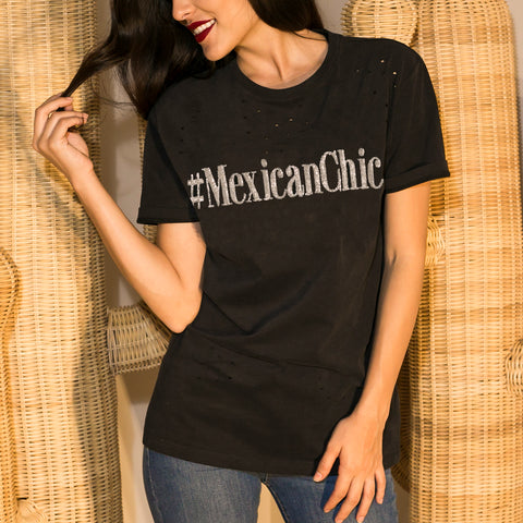 Ripped Tee Mexican Chic Negra