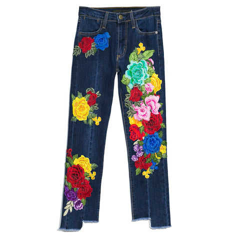Jeans skinny con flores