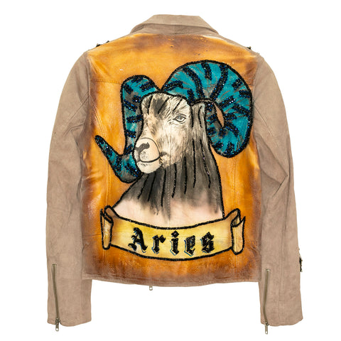 "Biker jacket pintada y bordada a mano ""Aries"""