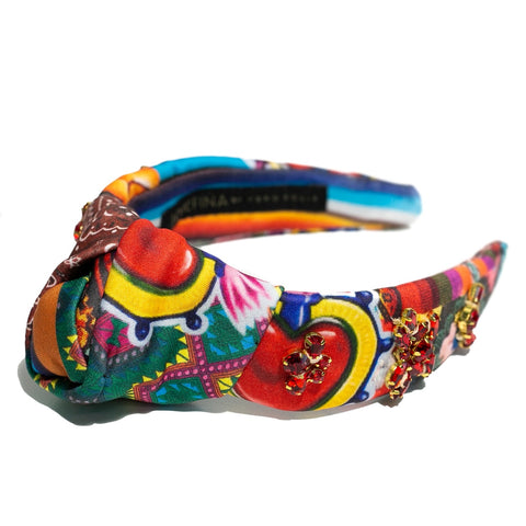 Diadema patchwork bordada