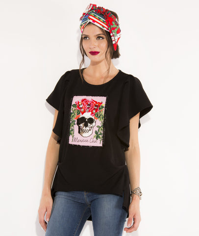 Blusa Oversized Black Mexican Chic Flores