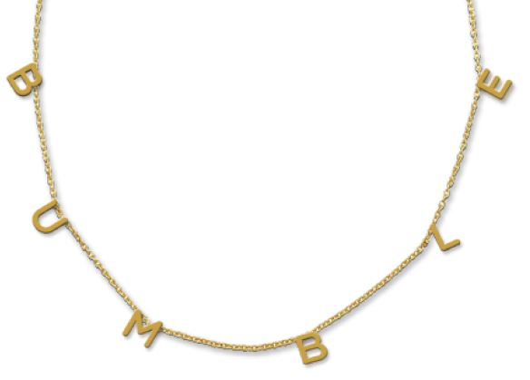 Gold Plated Bumble Letter Necklace
