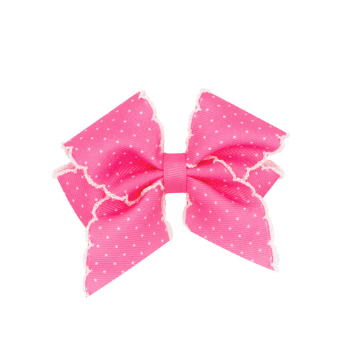 WEE ONE'S XSMALL DOT PRINT GROSGRAIN BOW #9607