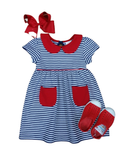 NAVY STRIPE POCKET DRESS WITH RED TRIM AND PETER PAN COLLAR #20002