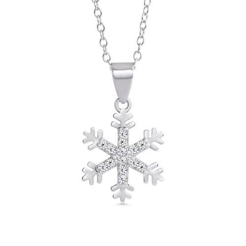 PAVE CZ SNOWFLAKE NECKLACE IN STERLING SILVER