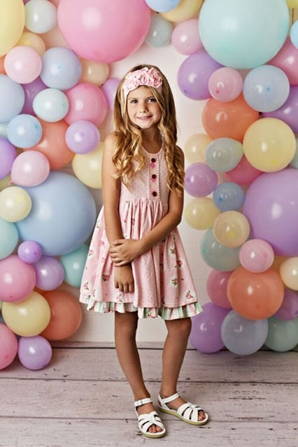 PINK POSIE PRIM TIER DRESS #2031
