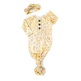 SADIE LEOPARD RUFFLE KNOTTED BUTTON NEWBORN GOWN SET
