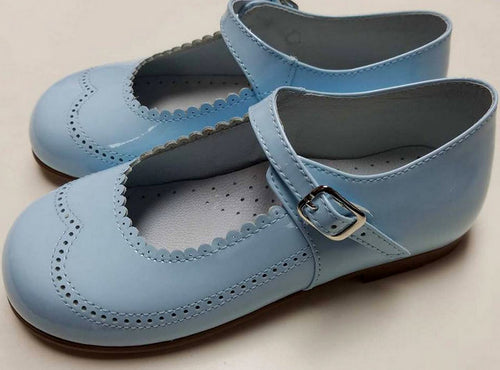 #21517 PALE BLUE, PATENT LEATHER, MARY JANE BY GEPPETTOS
