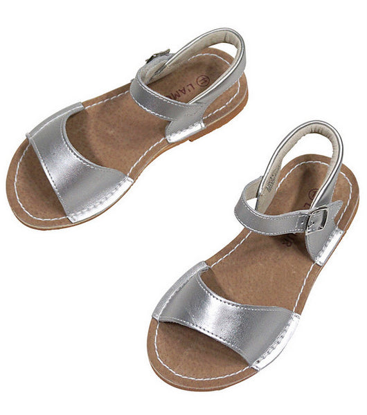 STITCH DOWN SANDAL IN SILVER #21711