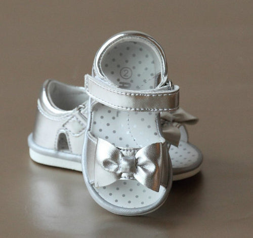 BABY BOW SANDAL IN SILVER #17300