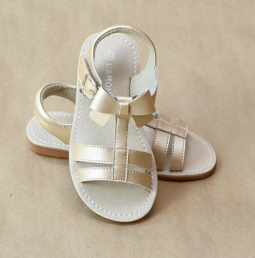 T-STRAP BOW STRAP SANDAL IN CHAMPAGNE #21710