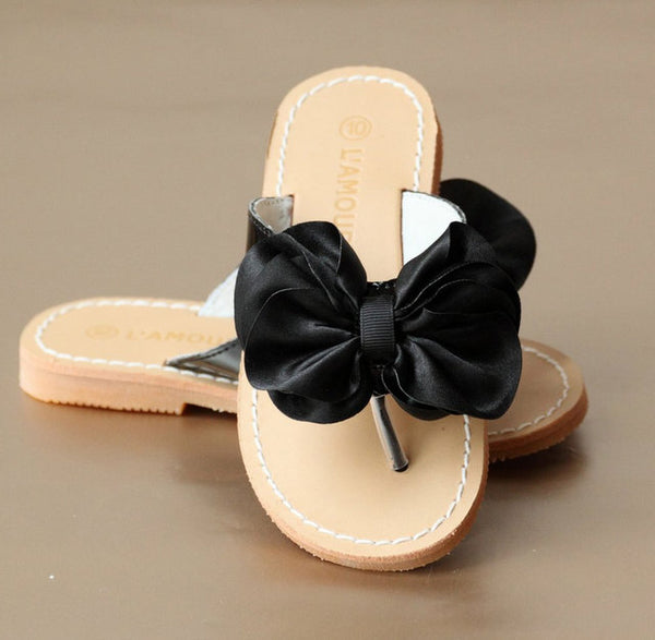 SATIN BOW SANDAL IN BLACK #21709