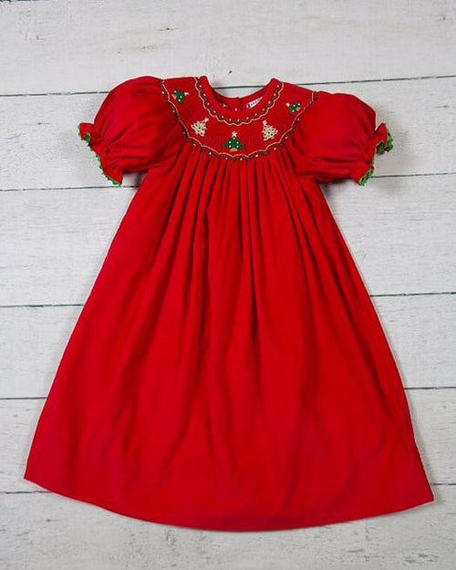 CLASSIC RED TREE, SS SMOCKED BISHOP DRESS #19440