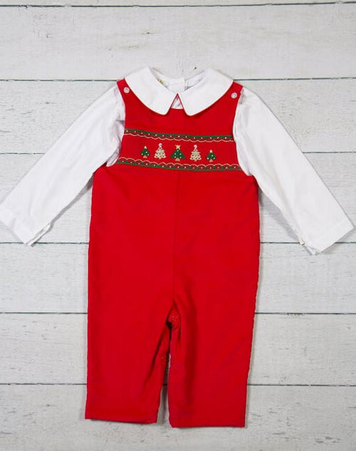 CLASSIC RED TREE, SMOCKED LONGALL SET #19442