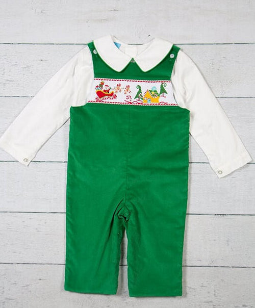 CLASSIC GREEN SANTA, SMOCKED LONGALL SET (2PC) #19444
