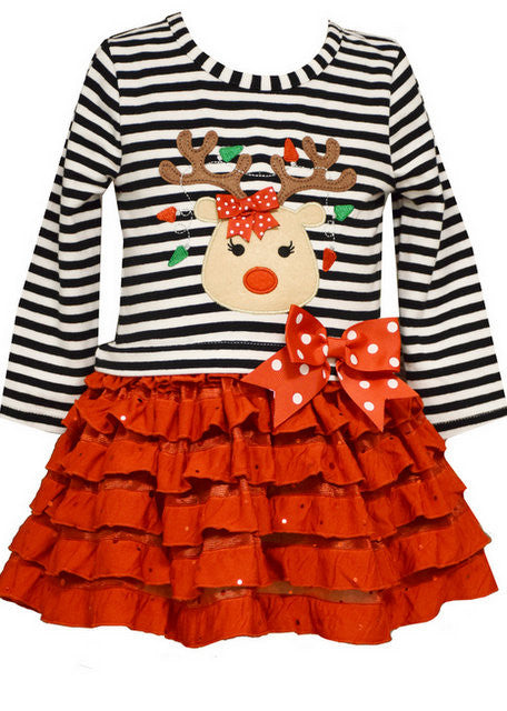 BONNIE JEAN REINDEER DROPWAIST DRESS