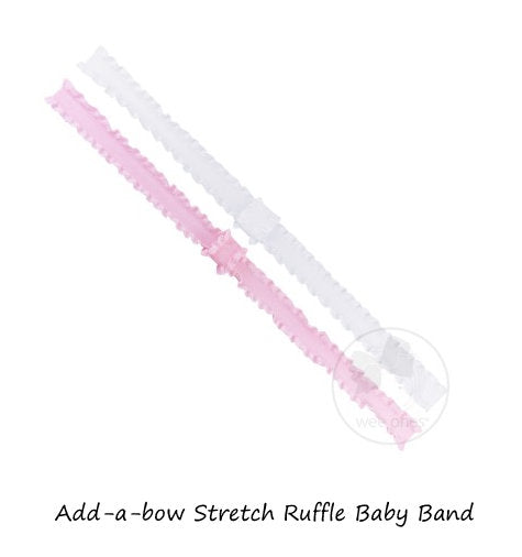 ADD-A-BOW STRETCH RUFFLE BABY BAND 2PK LIGHT PINK/WHITE
