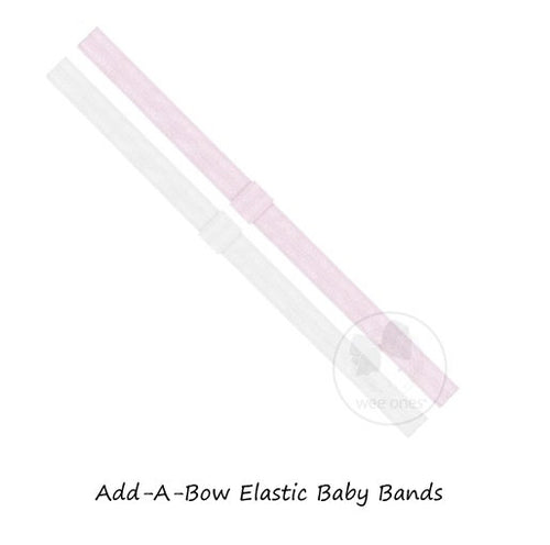 ADD-A-BOW ELASTIC BABY BAND 2PK LIGHT PINK/WHITE
