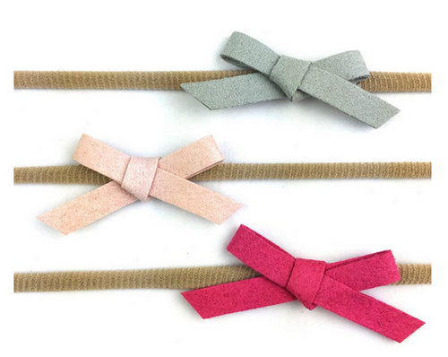 BABY WISP, 3 FAUX SUEDE HAND TIED BOW HEADBANDS