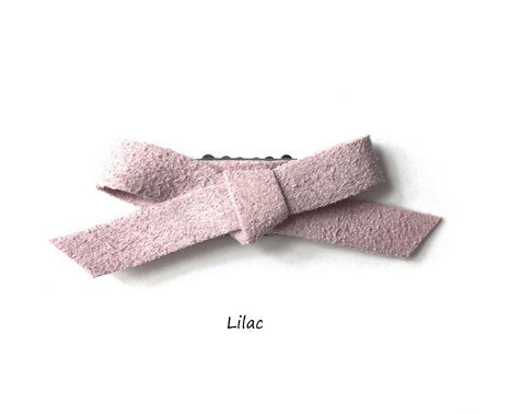 BABY WISP, MINI LATCH CLIP FAUX SUEDE HAND TIED BOW (CHOOSE YOUR COLOR)