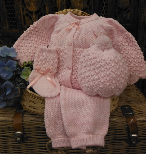 WILL'BETH PINK KNIT BABY SET #806560