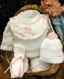 WILL'BETH 4 PIECE WELCOME BABY KNIT SET IN WHITE WITH PINK #807370