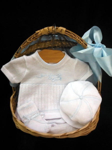WILL'BETH 4PC WHITE AND BLUE AIRPLANE KNIT SET #855080