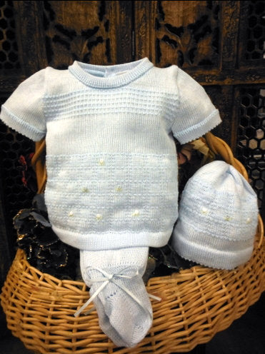 WILL'BETH BABY BOY 3PC BLUE KNIT SET #856250