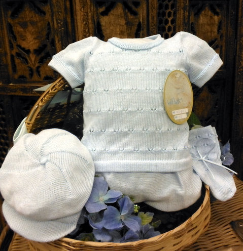 WILL'BETH 4 PC BLUE KNIT NEWBORN SET #856410